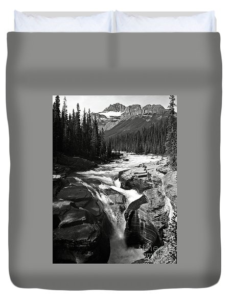 Waterfall In Banff National Park Bw Duvet Cover by RicardMN Photography
