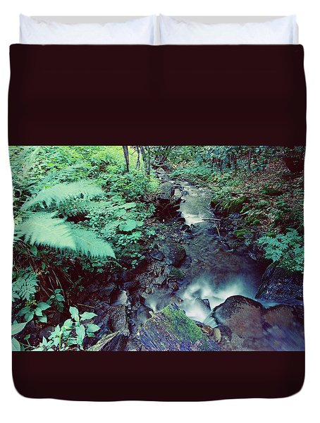 waterfall in Carpathian mountains Duvet Cover