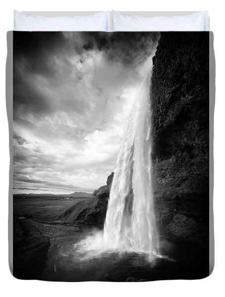 Duvet Cover featuring the photograph Waterfall In Iceland Black And White by Matthias Hauser