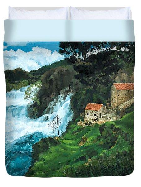 Waterfall In Krka Duvet Cover