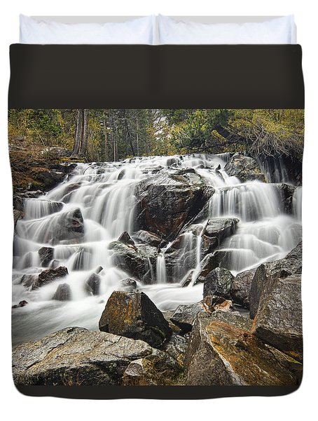 Waterfall In Lee Vining Canyon Duvet Cover