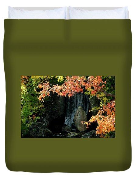 Waterfall In The Garden Duvet Cover