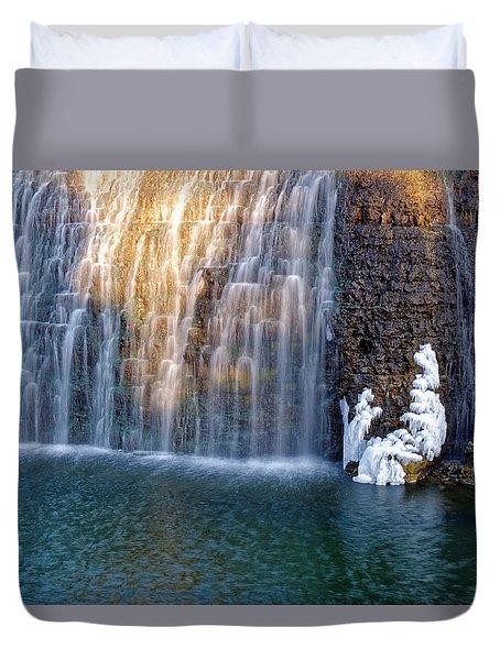 Waterfall In Winter Duvet Cover