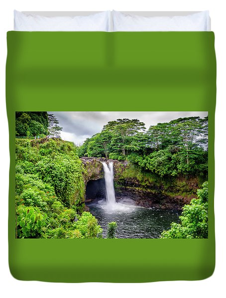 Waterfall Into The Valley Duvet Cover