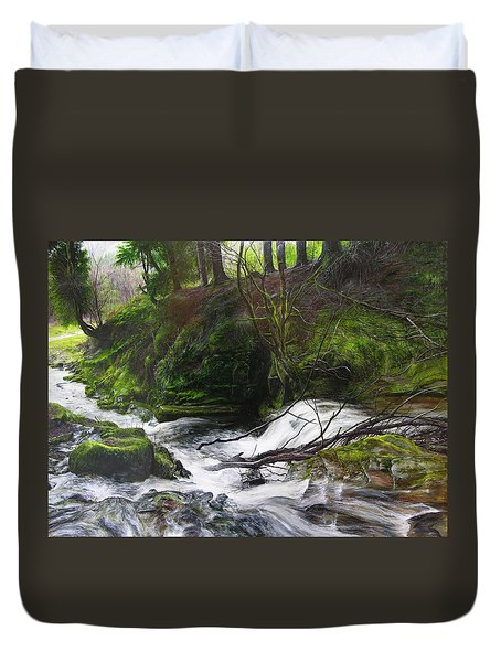 Duvet Cover featuring the painting Waterfall Near Tallybont-on-usk Wales by Harry Robertson