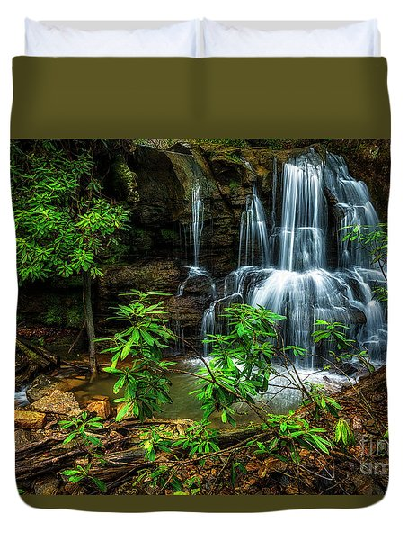 Duvet Cover featuring the photograph Waterfall On Back Fork by Thomas R Fletcher