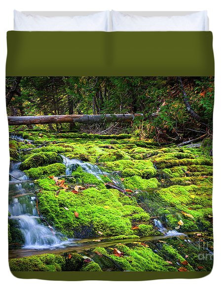 Duvet Cover featuring the photograph Waterfall Over Mossy Rocks by Elena Elisseeva