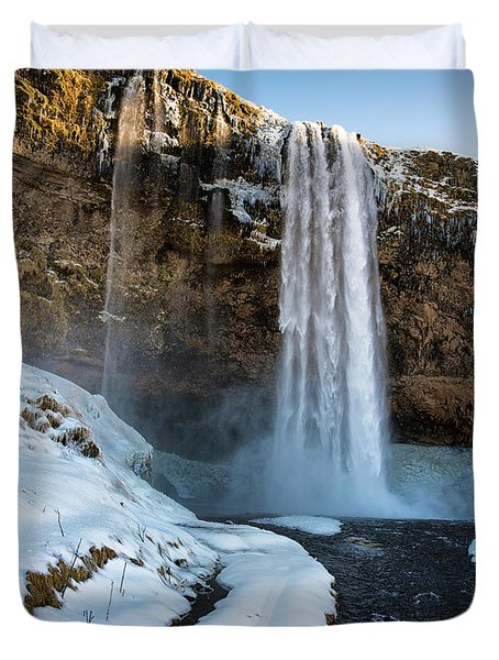 Waterfall Seljalandsfoss Iceland In Winter Duvet Cover by Matthias Hauser