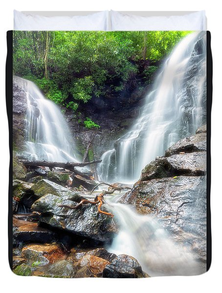 Duvet Cover featuring the photograph Waterfall Silence by Russell Pugh