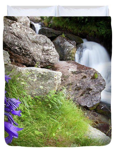Waterfalls And Bluebells Duvet Cover by Mircea Costina Photography