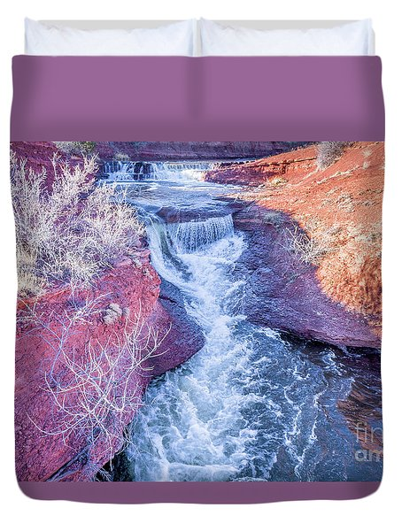 waterfalls at Colorado foothills aerial view Duvet Cover