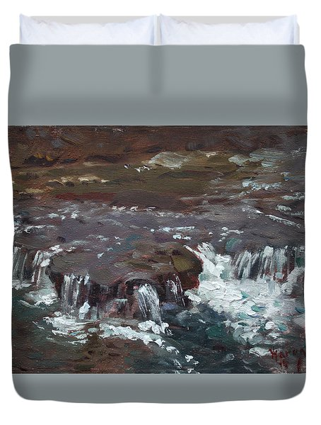 Waterfalls At Three Sisters Islands Duvet Cover