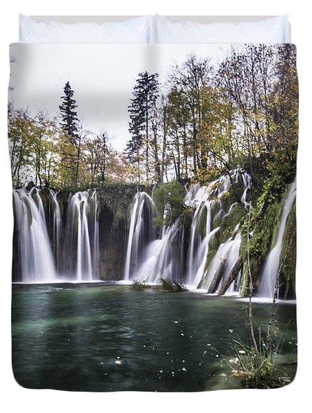 Waterfalls In Croatia Duvet Cover