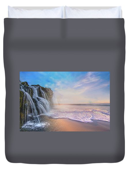Waterfalls Into The Ocean Duvet Cover