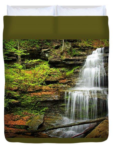 Waterfalls On Little Three Mile Run Duvet Cover