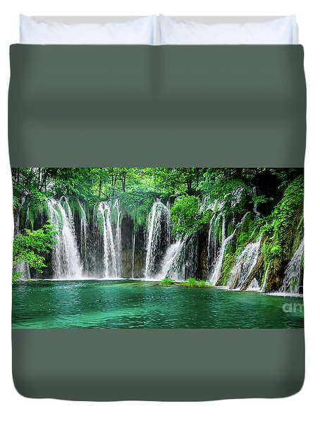 Waterfalls Panorama - Plitvice Lakes National Park Croatia Duvet Cover
