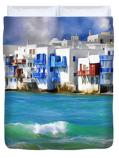 Waterfront At Mykonos Duvet Cover