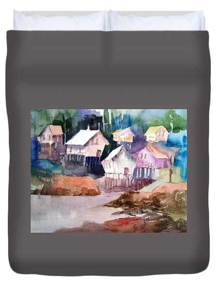 Waterfront Cabins Duvet Cover