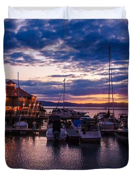 Waterfront Summer Sunset Duvet Cover