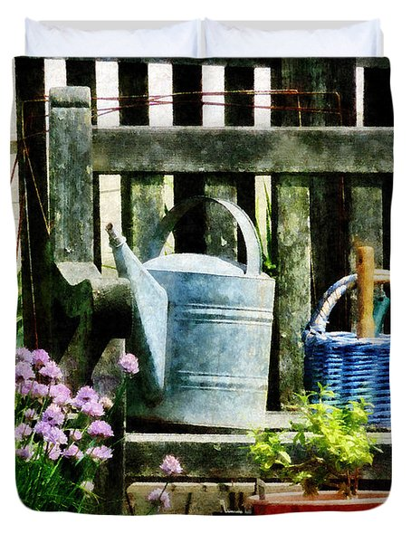 Watering Can And Blue Basket Duvet Cover by Susan Savad