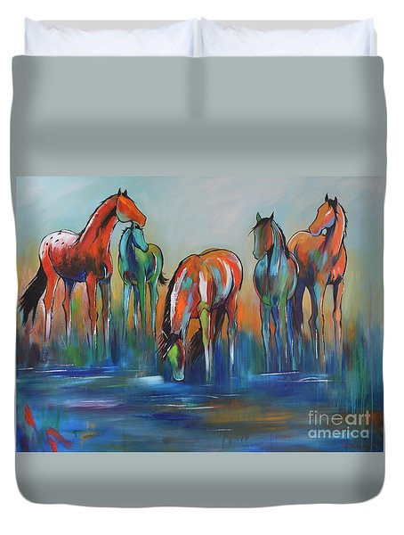 Duvet Cover featuring the painting Watering Hole 5 by Cher Devereaux
