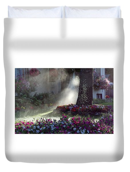 Watering The Lawn Duvet Cover by Keith Boone