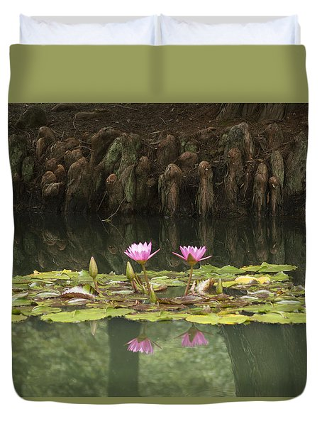 Waterlilies And Cyprus Knees Duvet Cover