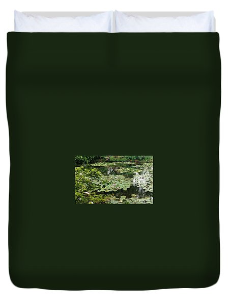 Duvet Cover featuring the photograph Waterlilies At Monet's Gardens Giverny by Therese Alcorn
