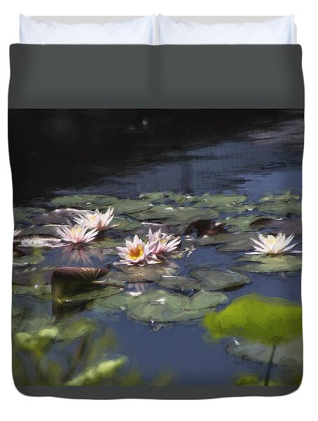 Duvet Cover featuring the photograph Waterlilies by John Rivera