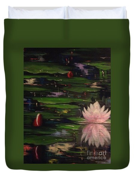 Duvet Cover featuring the painting Waterlilies - Original Sold by Therese Alcorn