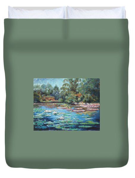 Waterlilies Pond In Tower Grove Park Duvet Cover