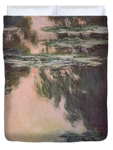 Waterlilies With Weeping Willows Duvet Cover