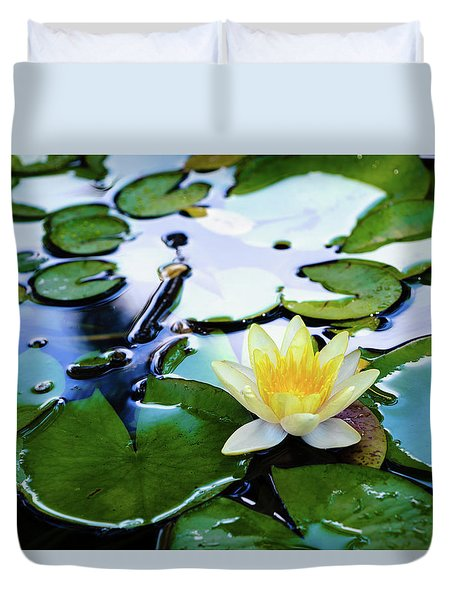 Waterlilly On Blue Pond Duvet Cover