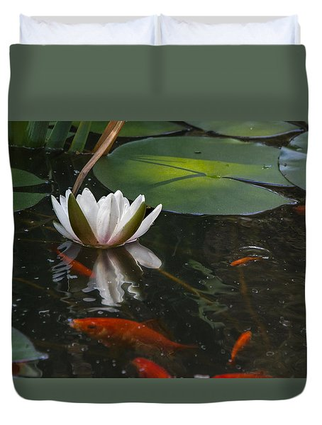 Waterlily And Goldfish Duvet Cover