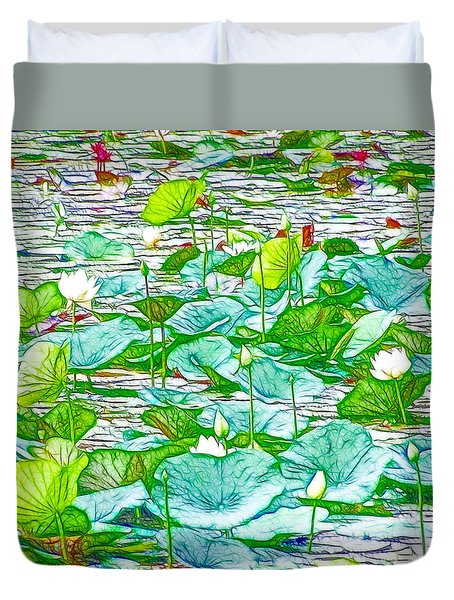 Waterlily Blossoms On The Protected Forest Lake Duvet Cover by Lanjee Chee