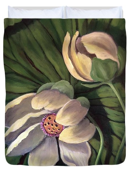 Waterlily Like A Clock Duvet Cover