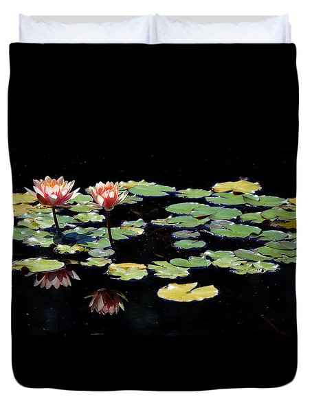 Duvet Cover featuring the painting Waterlily Panorama by Marilyn Smith