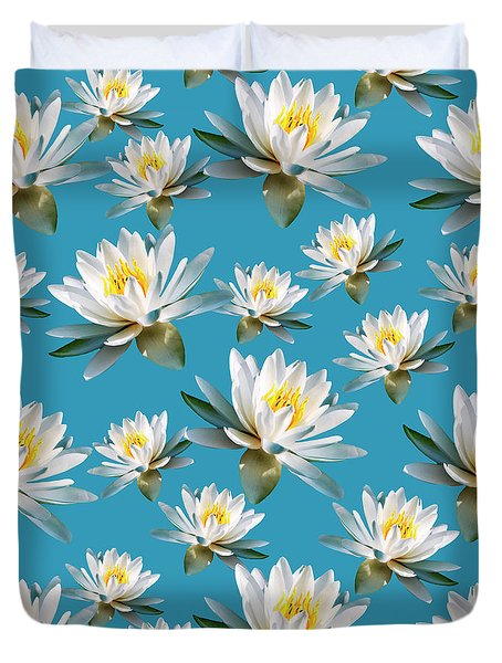 Duvet Cover featuring the mixed media Waterlily Pattern by Christina Rollo