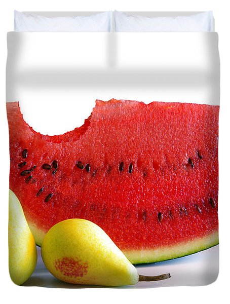 Watermelon And Pears Duvet Cover by Carlos Caetano