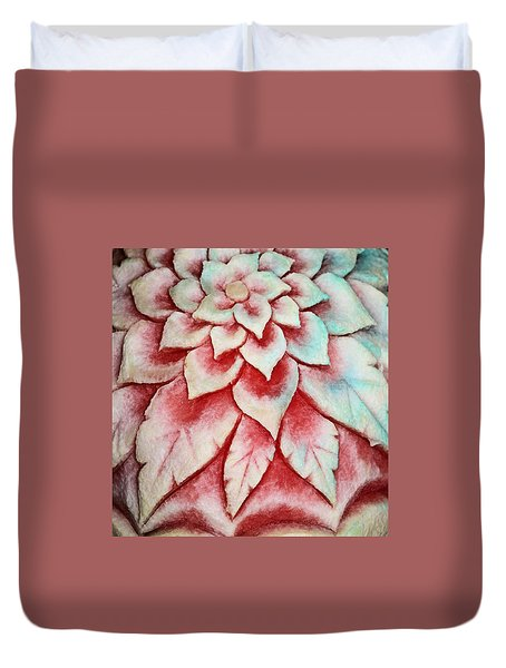 Duvet Cover featuring the photograph Watermelon Carving by Kristin Elmquist