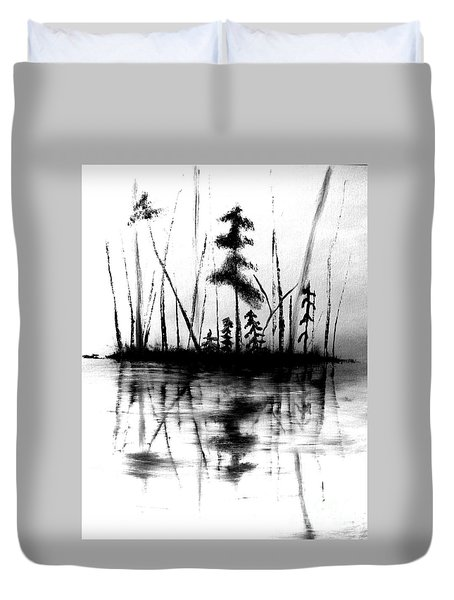 Duvet Cover featuring the painting Waters Edge by Denise Tomasura