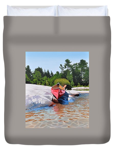 Duvet Cover featuring the painting Waters Edge by Kenneth M Kirsch