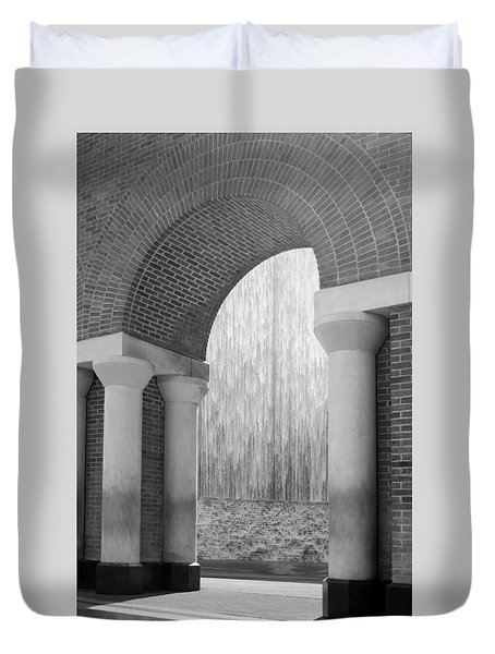 Waterwall And Arch 3 In Black And White Duvet Cover