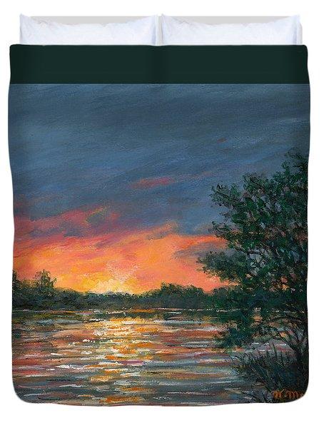 Duvet Cover featuring the painting Waterway Sundown by Kathleen McDermott
