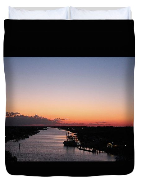 Waterway Sunset #1 Duvet Cover