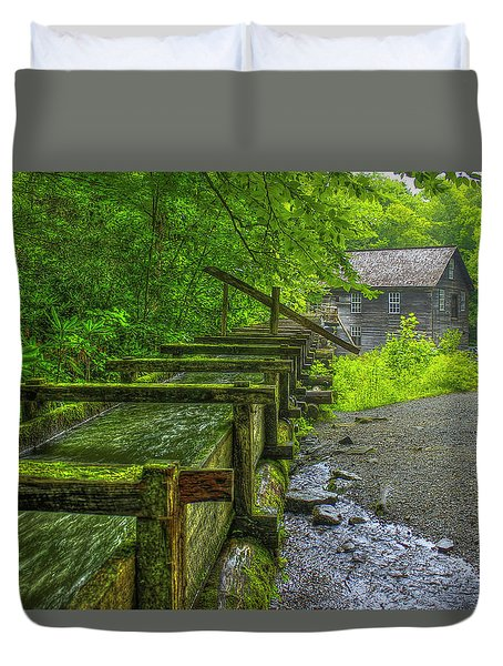 Duvet Cover featuring the photograph Waterworks Mingus Mill Mingus Creek Art  Great Smoky Mountains Art by Reid Callaway