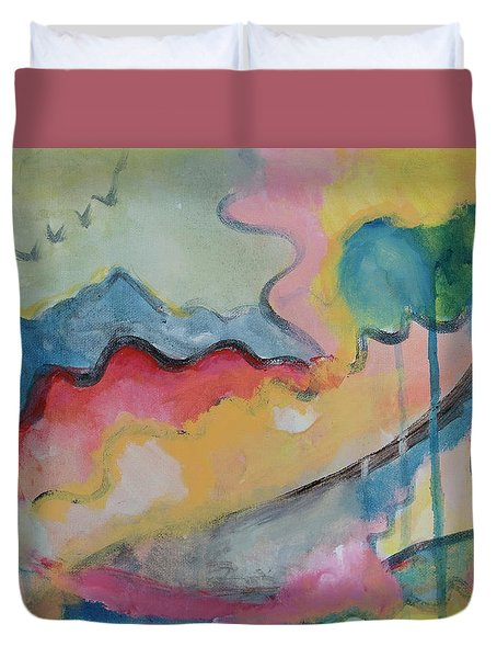 Duvet Cover featuring the digital art Watery Abstract by Susan Stone