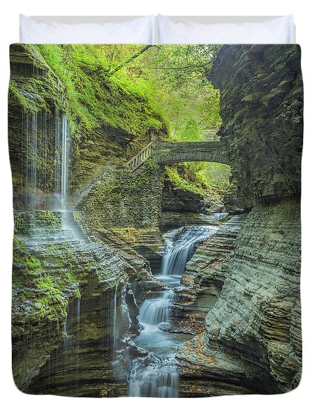 Duvet Cover featuring the photograph Watkins Glen 07 Panorama by Jim Dollar