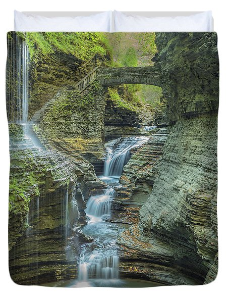 Duvet Cover featuring the photograph Watkins Glen 08 Panorama by Jim Dollar