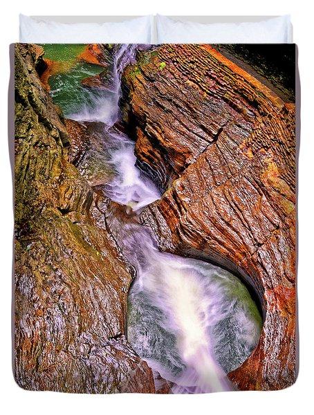 Watkins Glen - Rainbow Falls 005 Duvet Cover by George Bostian